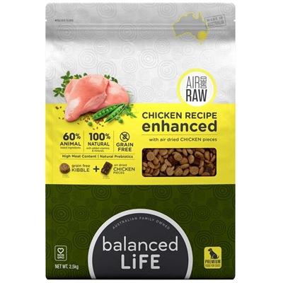 Balanced Life Enhanced Grain Free Kibble & Air-Dried Raw Dog Food - Chicken - 9kg