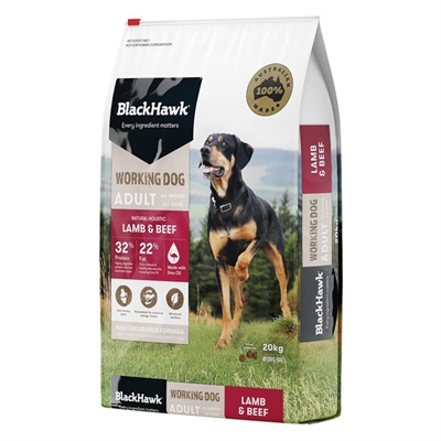 "Black Hawk ""Working Dog"" Lamb & Beef Dog Dry Food 20kg"