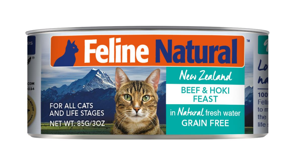 Feline Natural Canned Beef & Hoki Cat Food 24x85g