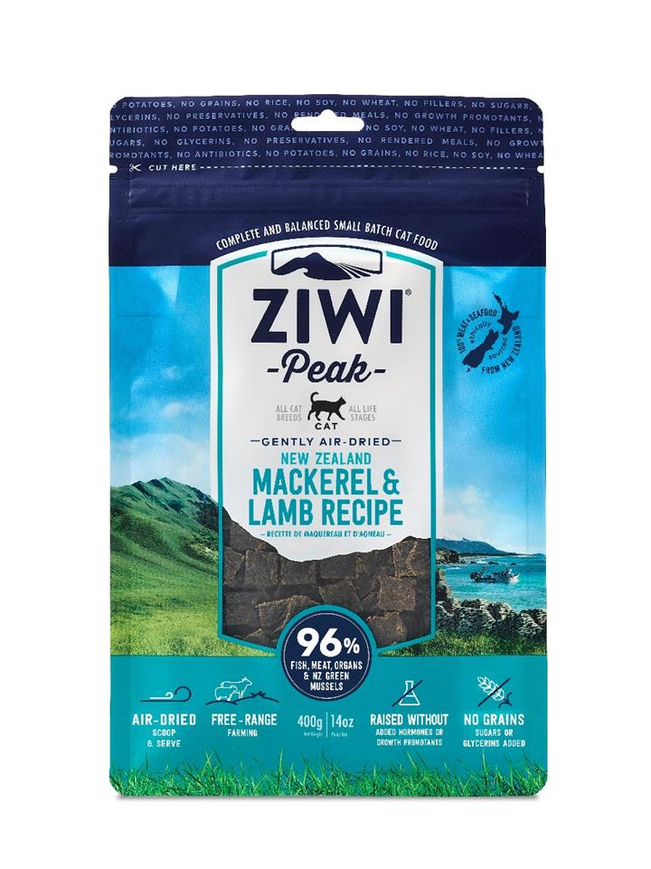 ZiwiPeak Air Dried Cat Food Mackerel & Lamb 400g